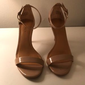J.crew patent leather nude strappy heels